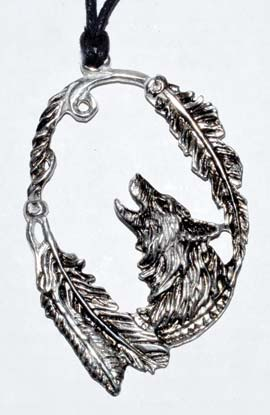Wolf with Feathers amulet 3 1/4""