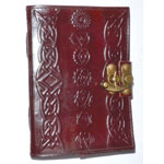 Chakra leather blank book w/ latch