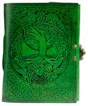 Green Tree of Life. river of Knowledge leather w/ latch 5