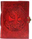 Red Tree of Life. river of Knowledge leather w/ latch 5