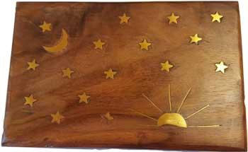 """4"""" x 6"""" Stars & Moon Brass Inlay Box"""