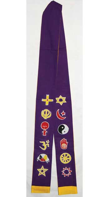 Interfaith Minister's Stole purple/ gold