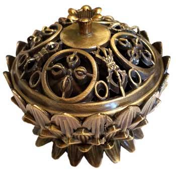 Lotus incense burner, antique bronze
