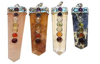 Assorted Crystal Pencil Point w/ 7 Chakra stones