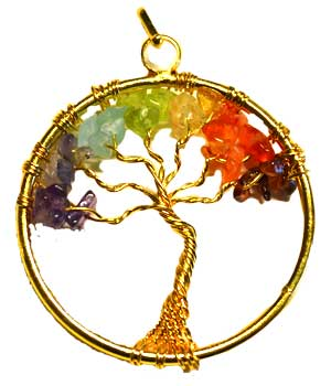 7 Chakra Tree of Life pendant gold tone
