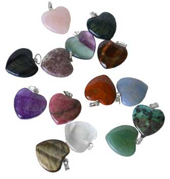 "3/4"" (20mm) various Stones heart"