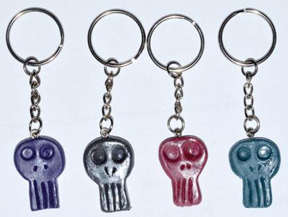 "1 1/4"" resin Skull key ring (assorted colors)"