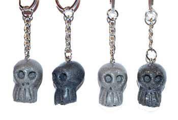 "1"" resin Skull key ring (assorted colors)"