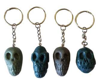 "1 1/2"" resin Skull key ring (assorted colors)"