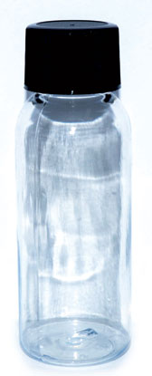1oz Clear Plastic Bottle W/ Ribbed Cap