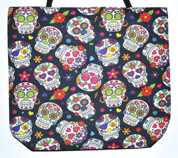 """14"""" x 16"""" Day of the Dead jute tote bag"""