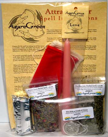 Attract Lover Ritual Spell Kit, AzureGreen