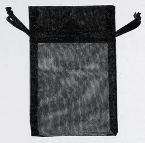 "2 3/4"" x 3"" Black organza pouch"
