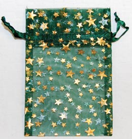 "2 3/4"" x 3"" Green organza pouch w/ Gold Stars"