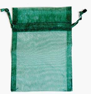 "2 3/4"" x 3"" Green organza pouch"