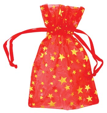 "2 3/4"" x 3"" Red organza pouch with Gold Stars"