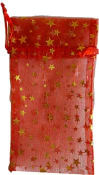"3"" x 4"" Red organza pouch with Gold Stars"
