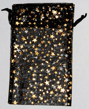 "4"" x 5"" Black organza pouch with Gold Stars"