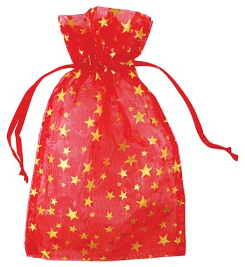 "4"" x 5"" Red organza pouch w/ Gold Stars"