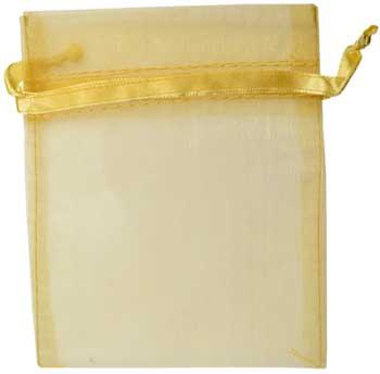 "2 3/4"" x 3"" Gold organza pouch"