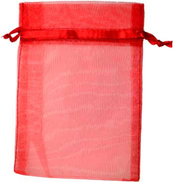 "2 3/4"" x 3"" Red organza pouch"