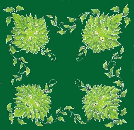 Green Man Caftan 3 ft square