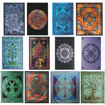 "58"" x 82"" Assorted Design tapestry (mixed colors)"