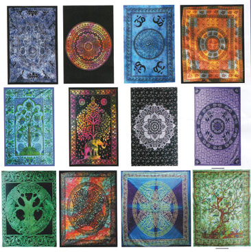 "81"" x 90"" Assorted Design tapestry (mixed colors)"