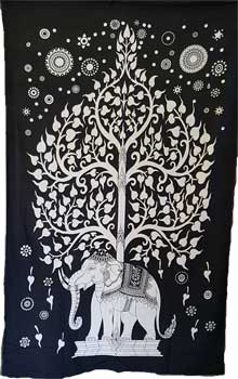 "54"" x 86"" Elephant Tree tapestry"