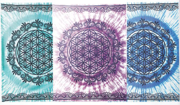 "58"" x 82"" Flower of Life tapestry (mixed colors)"
